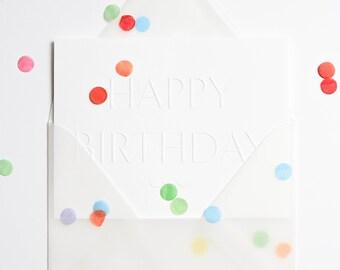 Rainbow Confetti Party Embossed Birthday Card, Transparent Vellum Envelope