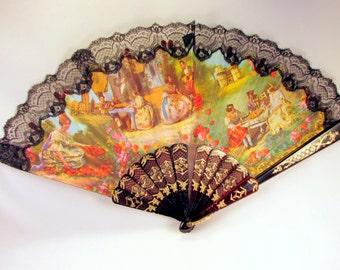 Vintage spanischer Hand Fan malte spanische Bild schwarzer Spitze Muttertag Mama Tag Collectible Gift Item 726