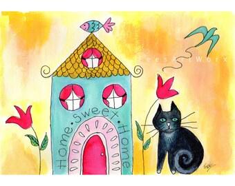 Housewarming Gift, Black Cat Print, Cat Art, Cat Wall Art, Cat Home Decor, Cat Wall Decor, Cat Painting, Tuxedo Cat Art, Tuxedo Cat Painting