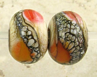Glass Lampwork Bead Pair Lipstick Red Apricot and Ivory Frosted 11x7mm Etched Soft Fire Velvet