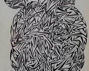Original Abstract Drawing, Modern Abstract Art, Original Art, Contemporary Drawing, Geometrical Art