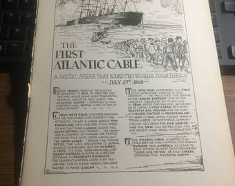 The first Atlantic cable 1866. 1933 book page history print illustration . Art frameable history