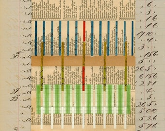 Page 27: original mixed media paper collage artwork on antique ledger book page grey beige tan green blue red yellow