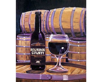 Bourbon County Stout, Goose Island, Chicago Beer Art, Gift for Beer Lover, Craft Beer Gift, Dining Room Print, Man Cave Beer Poster, Bar Art