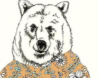 Bear Drawing - Bears Love Floral Dresses - Bear Art  - Bear Illustration