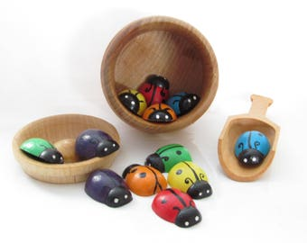 Rainbow Lady Bugs - Montessori Sort and Count - Pot of Bugs by MDH Toys