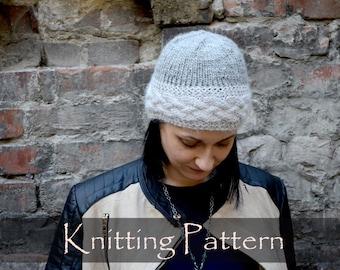 KNITTING PATTERN - Braided Hat Pattern Knit Braids Women Cable Beanie Pattern Winter Hat Knitting Cap Pattern PDF - P0042