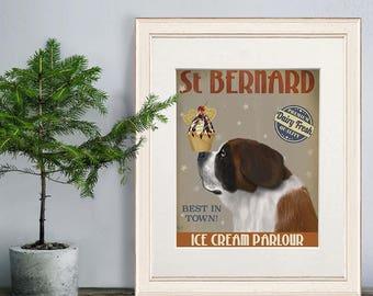 Saint Bernard dog - St Bernard ice cream dog - Swiss st Bernard St Bernard print Dog lover print dog mom painting of dog gift for dog lover