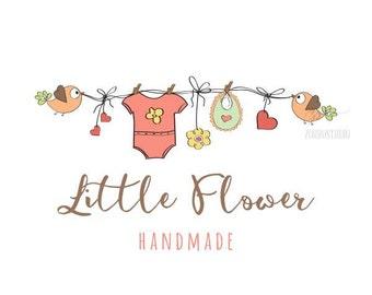 Premade Logo Design Baby Girl Clothing Hair Accessories Birthday Baby Shower Invite Logo Custom Business Card Branding Shower Sign PL212
