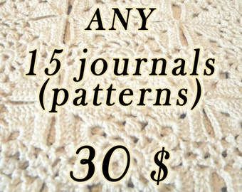 SALE!  DISCOUNT - Any 15 crochet journals (patterns/tutorials)  of your choice