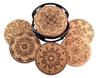 Antique Style, Laser Etched Cork Coaster Set