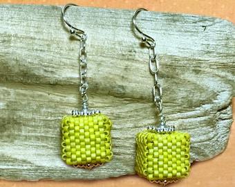 Yellow Cube Earrings Beaded Cube Earrings Yellow Bead Earrings Beaded Cube Dangles Cube Earrings Cube Dangle Earrings Beadwork Earrings
