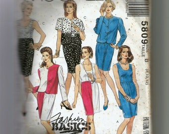 McCall's Misses'  Unlined Jacket and Dress Pattern 5809