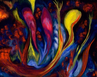 Fire Flowers Prints from Orginal Acrylic on Canvas