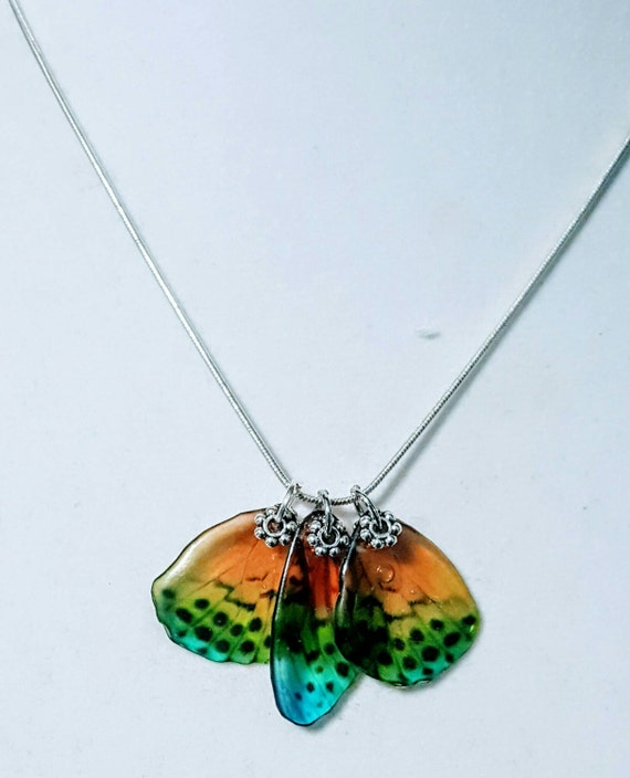 Bright Rainbow Butterfly Wings - Necklace