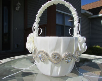 Beautiful Ivory Flower Girl Basket - Ivory Rhinestone Flower Girl Basket