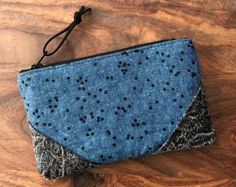Small Zip Pouch - Peacock Blue Scatter Dot