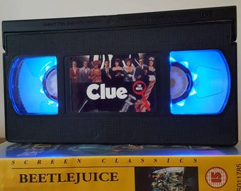 Retro VHS Lamp Clue Night Light Table Lamp, Horror Movie . Order any movie! Great personal gift. Man Cave, Office, Bedroom! Mothers Day