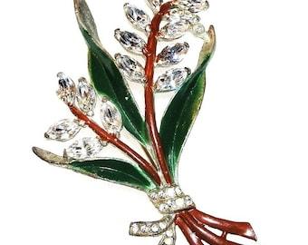 Coro Flower Brooch c.1930-40s Rhinestones and Enamel