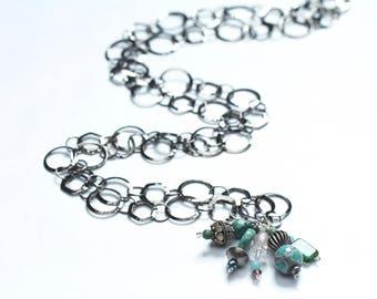 long charm necklace / summer birthday gift / bohemian charm necklace / extra long necklace / black gunmetal aqua