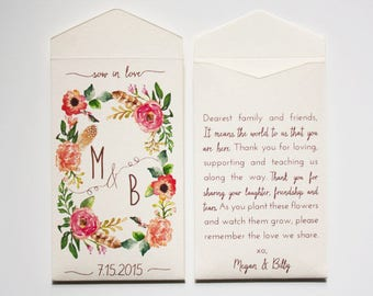 Sow in Love Wedding Favor Seed Packet Envelopes - Custom Seed Packets - Personalized Wedding Favor Seed Packets - Many Colors Available