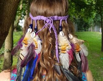 Feather Headdress, Festival Headdress, Native American Headdress, Beads and Goose Feather Headdress, Party and Fancy dress Headdress