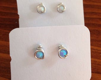 2 pairs, Small (3mm) Blue Opal and White Opal Stud Earrings, 2 Pairs, Argentium Sterling Silver Wire posts with hypoallergenic rubber backs