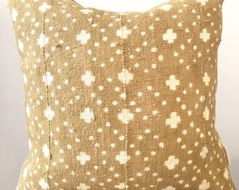 19 x 19 Mustard Mudcloth Pillowcase