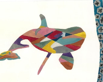 Orca Watercolour Print