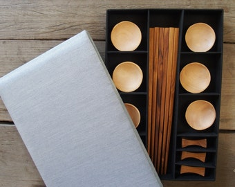 Teak Wooden Chopstick with Chopsticks Rest and Sauce Bowl Premium Silk Box Gift Set Love Pair