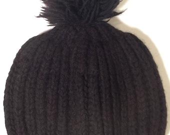 Vintage 50's handknit black wool beanie with pompom