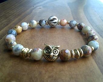 Owl Totem Faceted Crazy lace Agate Beaded Bracelet, Wisdom & Knowledge Bracelet Jewelry, Gemstone Bracelet, Reiki Healing Jewellery UK