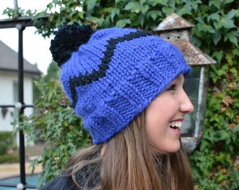Blue and Black Beanie with Pom Pom