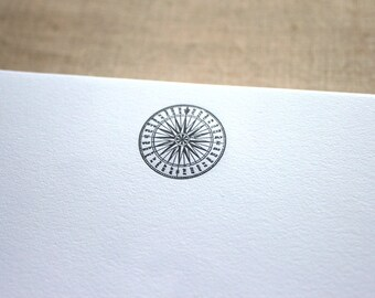 Cotton Writing Paper with Letterpress Compass