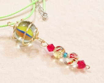 Silver Wire Caged Marble Pendant Necklace With Pink Cord