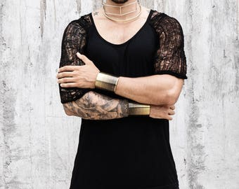 Mens Black Top - Mens Shredded Black T-shirt - Deconstructed Top - Black Oversized Top - Shredded Black Top