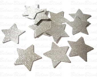 Twinkle Twinkle Little Star, Glitter Silver Star Confetti, Birthday Party Decorations  - No579