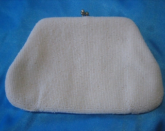 Vintage Hand Made Sharonee White Micro Bead Kiss Lock Clutch Handbag Purse