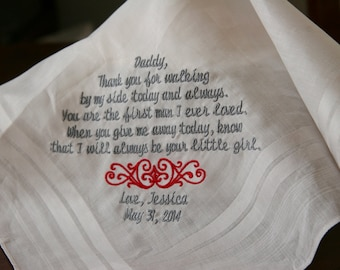 Embroidered Personalised Wedding Handkerchief  Gift to Dad From Bride