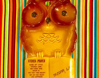 Owl Spoon Rest with Kitchen Prayer made in Japan circa 1960s