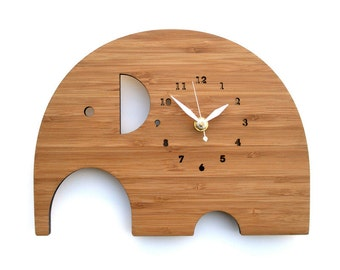 Simple Modern Elephant wooden wall Clock, Eco-friendly Nursery Decor Kids Room Perfect for gift