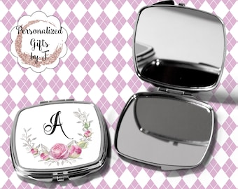 Pocket Mirror, Bridesmaids Gifts, Pink Rose, Personalized Bridesmaid Gift, Personalized Compact Mirror, Monogrammed Mirror design 1123
