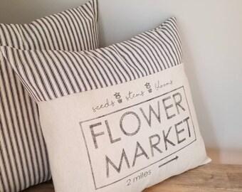 Flower Market Pillow Cover - Farmhouse Pillow Cover - Farmers Market Pillow - Vintage Pillow Cover - Ticking Pillow - Grain Sack Pillowcase