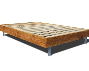 Platform Bed Frame with Metal Legs / modern and rustic bed / simple wood bed frame / modern bed /