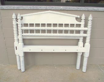 Antique Jenny Lind BED Spindle Spool FULL Size Heirloom Solid Wood - White Shabby Headboard and Footboard - Double - Farmhouse Chic - Fhf21