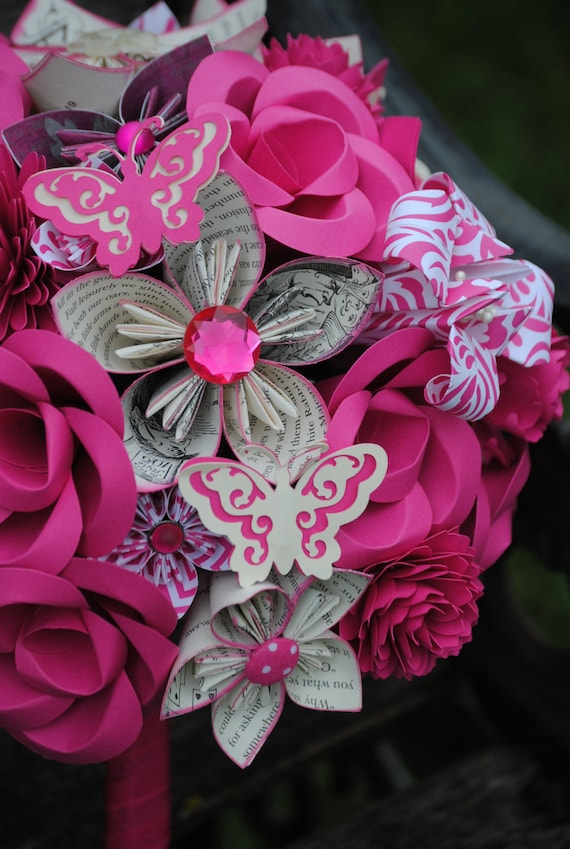 Custom Paper Flower Wedding Bouquet. You Pick The Colors, Papers, Books, Etc.