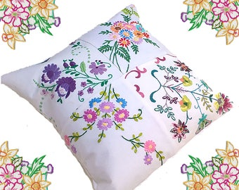 Vintage Embroidery and Linen Patchwork Fabric Cushion.
