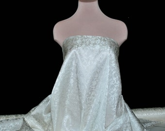 Satin Brocade fabric Off White 1 yard , formal.. home decor..upholstery..bustiers..corsets..Wedding dresses, suits , pillows