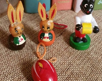 Easter Miniature Ornaments/Lot of 4 Wooden Easter Ornaments/Made in Germany/Mid Century/Erzibergier Miniatures/Crafting/Upcycle/Diorama