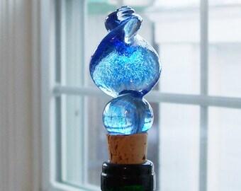 Handsculpted Blue Twist Bottlestopper